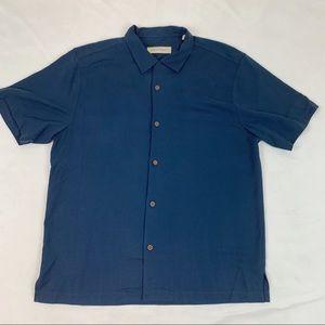 Tommy Bahama silk blend button up shirt navy blue